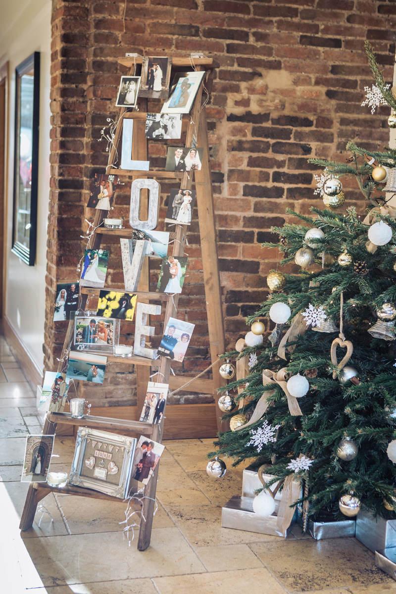 Rustic Ladder wedding memory display at Mythe Barn Warwickshire