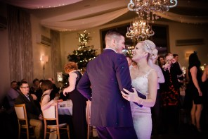 bride and groom first dance Winter wedding at Mythe Barn Warwickshire