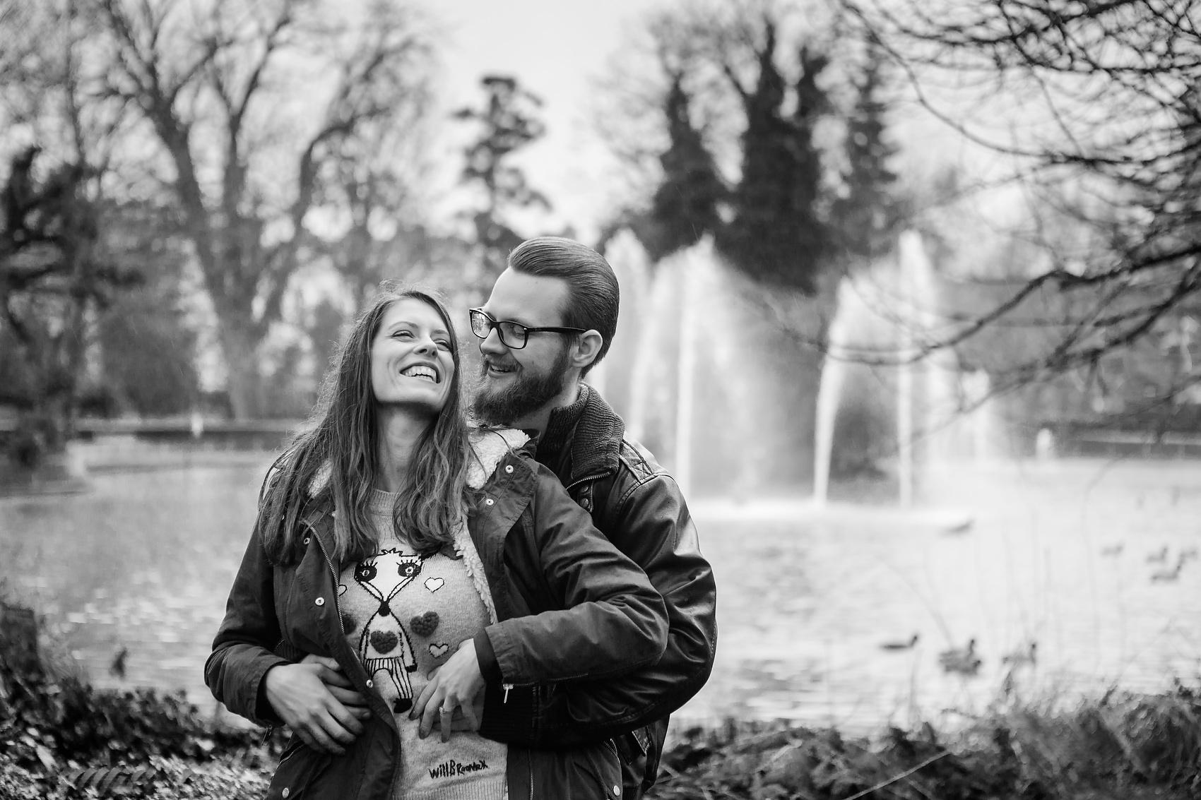 cute couple tickle fight rain fountain pre wedding shoot pond jephson gardens