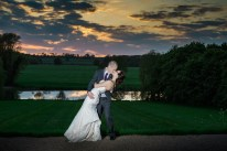 Bride and Groom sunset photo Kelmarsh Hall & Gardens