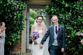 Confetti with Bride and Groom at Kelmarsh Gardens Wedding