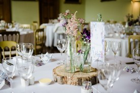 Natural and Purple Themed Floral Table Decor Kelmarsh