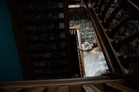 Bride on Stairs Dunchurch Park