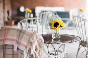 Sunflowers & blankets wedding decor