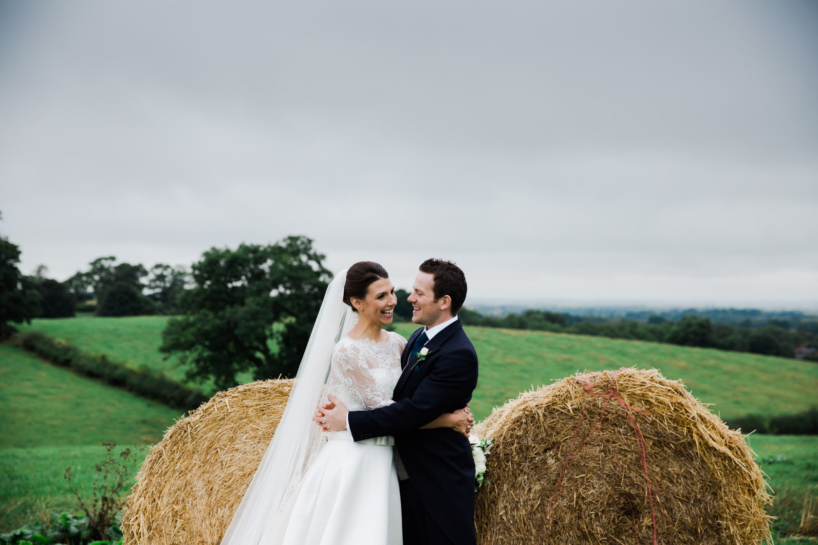 Chic & Rustic Home Farm Wedding daventry wedding photographer hay bales portraits