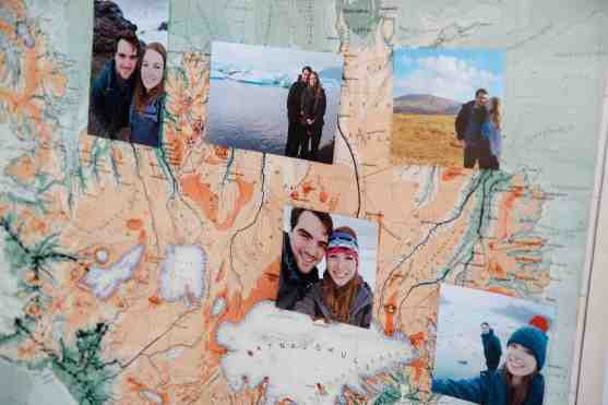 map with couples photographs attached diy wedding details