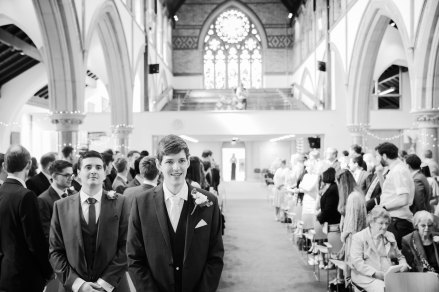 groom waits at alter st pauls church leamington spa natural relaxed wedding Leamington Spa Relaxed Church reportage photography