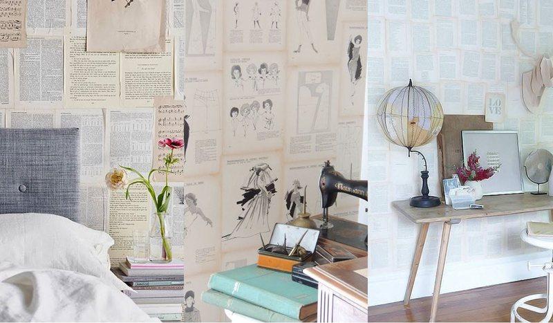Empapelar una pared con hojas de libros y fotografías