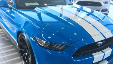 Ford 2017 Mustang - White Double Overhead Stripes