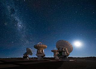 ALMA antennas under the Milky Way