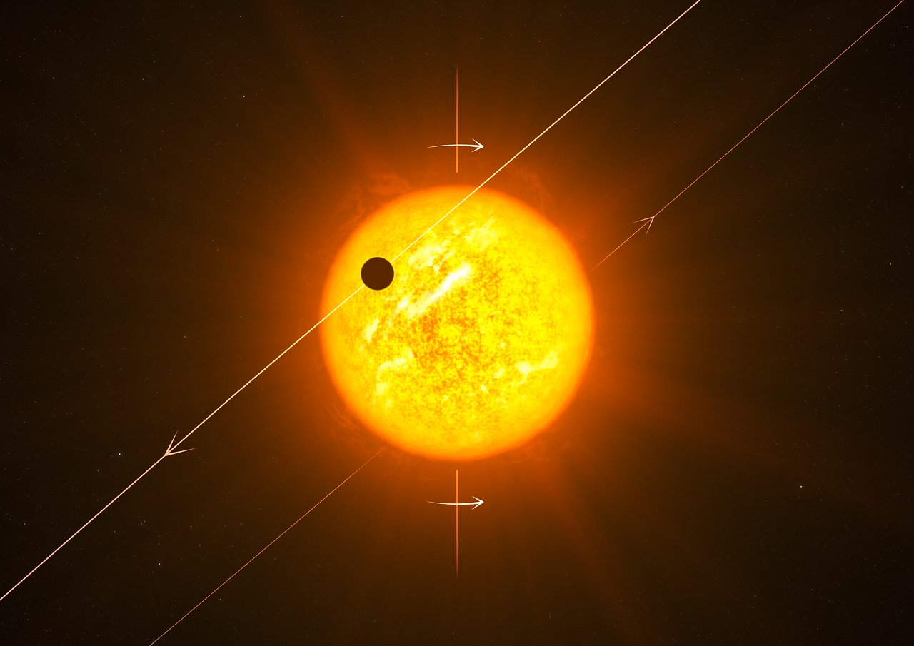 Artist's impression of an exoplanet in a retrograde orbit