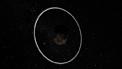 Rappresentazione artistica del sistema di anelli intorno all'asteroide Chariklo
