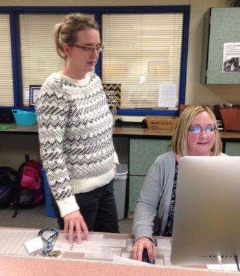 Megan Lazor, left, and Mary Neely work in the PHS guidance office.