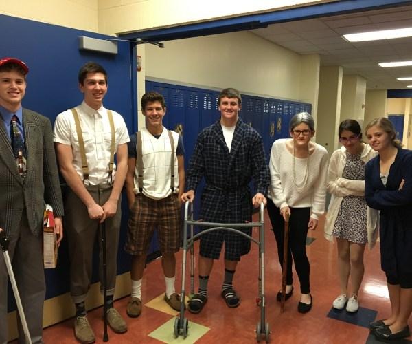 Juniors Ben Weider, Cameron Glowacki, Adam Rohrs, Danny Walton, Isabella Hyndman, Brooke Schlatter, and Katie Sanderson dressed as elderly people.