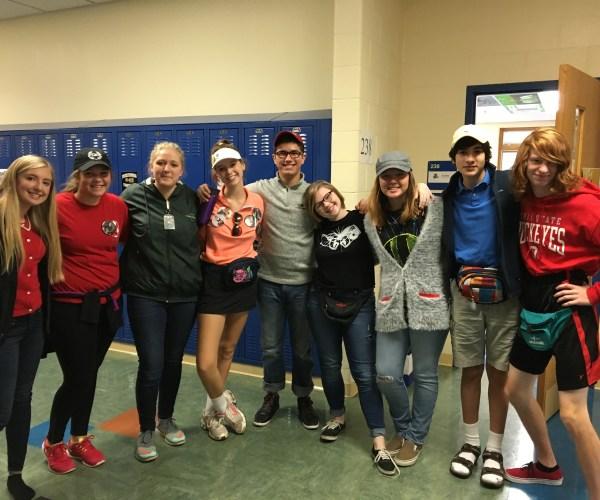 Sophomores Montana Morgan, Morgan Pruss, Hailey Woods, Megan Smith, Carlos Rodriguez, Emily Swick, Marika Orta Deemer, Mateo Gutierrez, and Nick Evans showed their school spirit while dressing as parents.