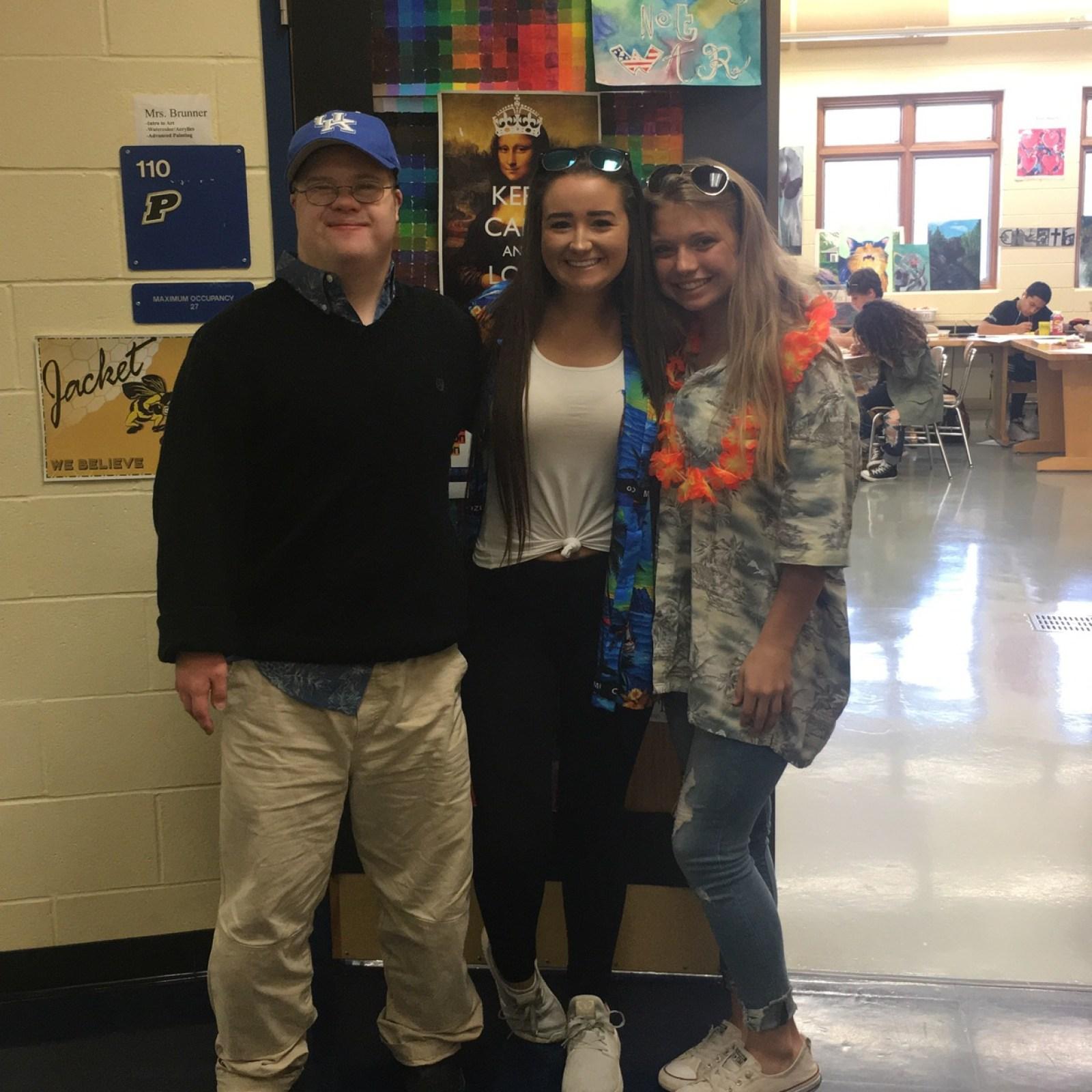 senior Sean Brown, sophmore Emily Hineline, freshman Kylie Griggs