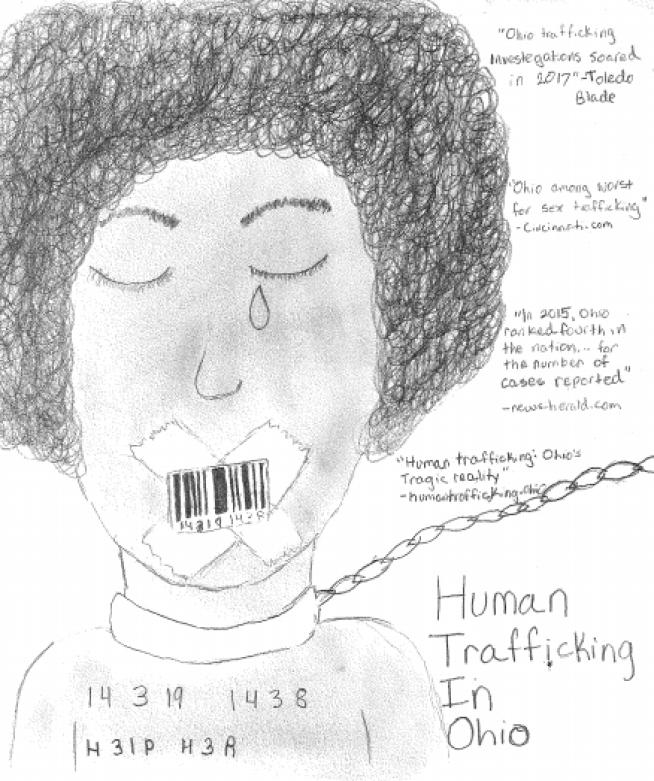 A cartoon victim of human trafficking