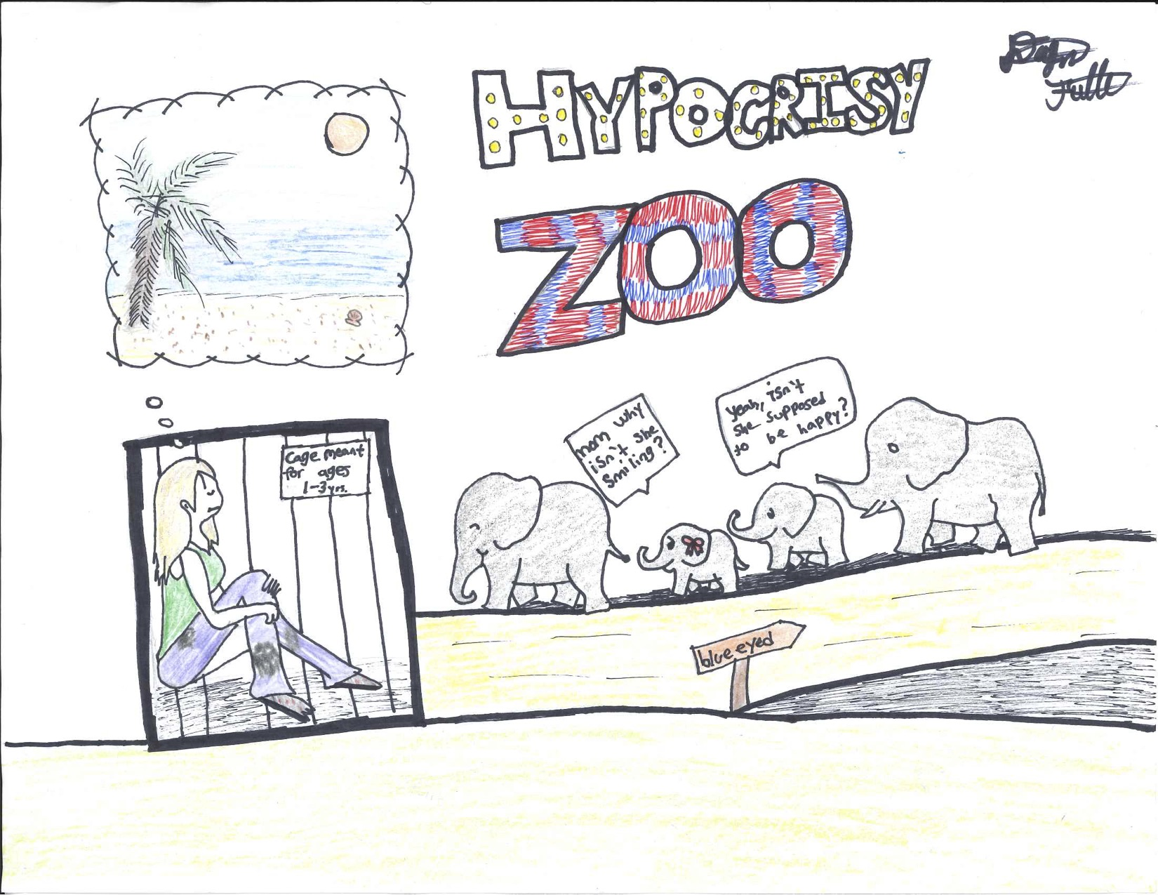 "Cartoon elephants look at caged human in ""Hypocrisy Zoo"""