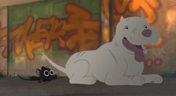 A screenshot from Disney Pixar's Kitbull on Youtube showing a small black kitten playing with a big white pit bull