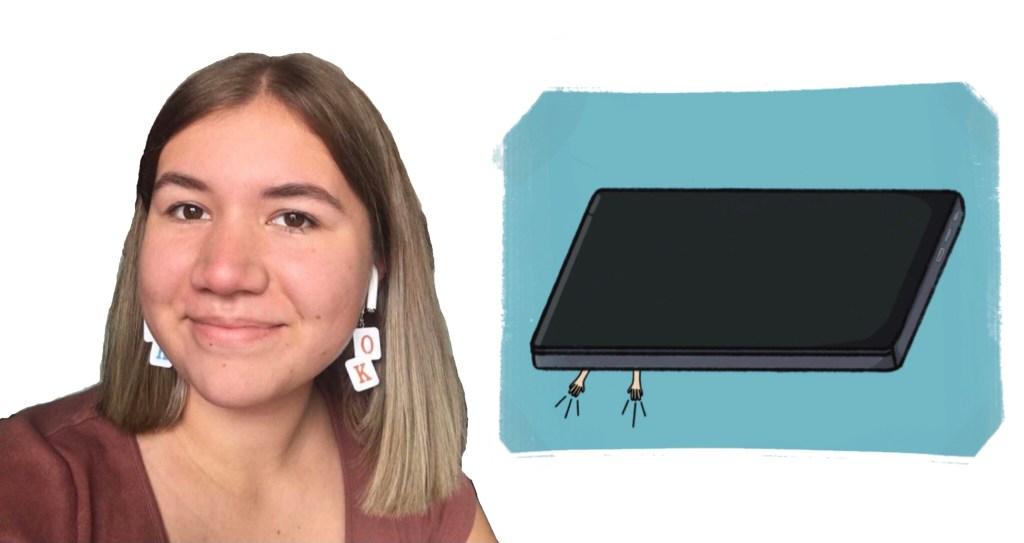 Smiling student, drawing of a laptop that has hands underneath it.