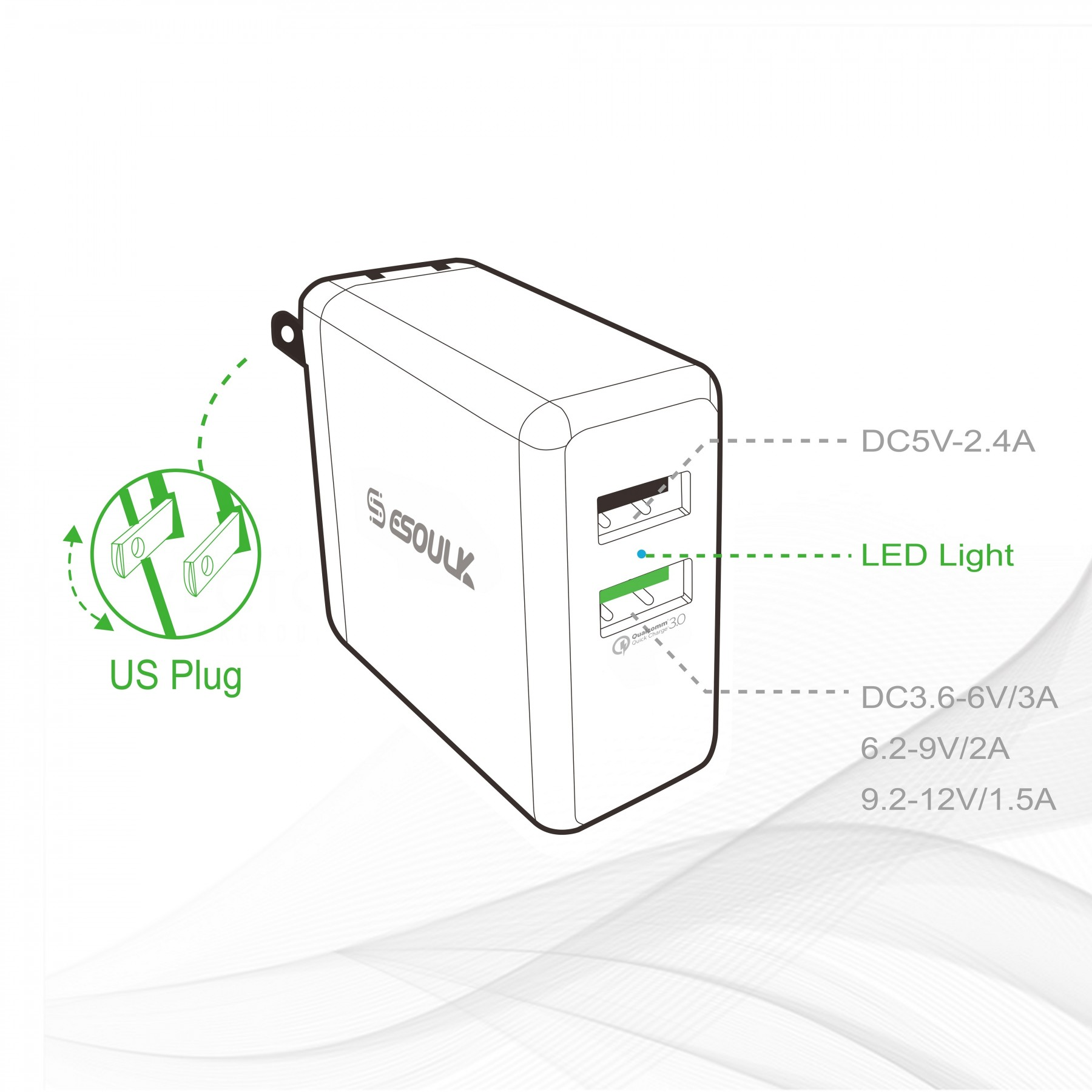 Esoulk Dual Usb 2 4a Wall Charger Micro Usb Charger Cable