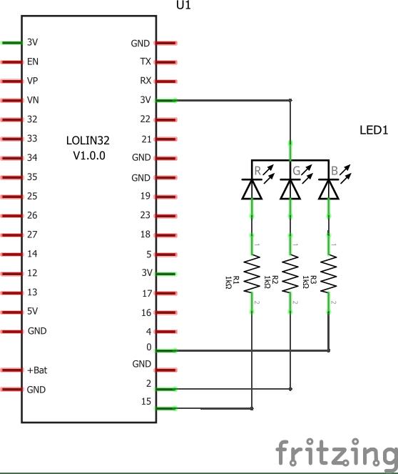 ESP32 and RGB led example | ESP32 Learning