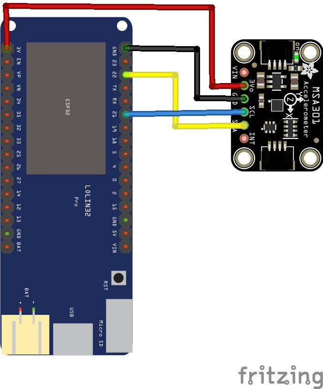 esp32 and MSA301 layout