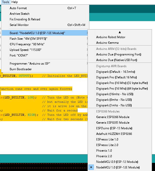 nodemcu arduino settings