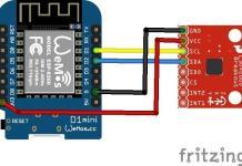 ESP8266 and L3G4200D layout