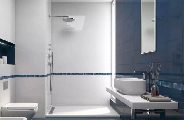 la couleur bleue dans la salle de bains