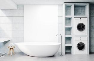 machine a laver dans la salle de bain