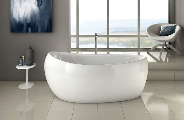 salle de bain zen avec baignoire ilot