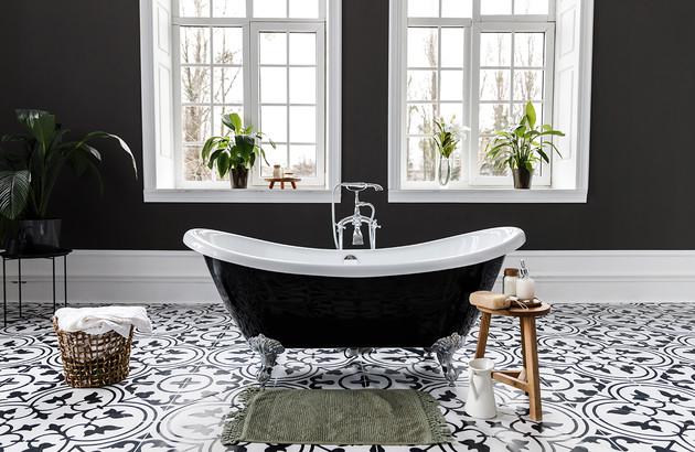 salle de bain noir et blanc espace aubade