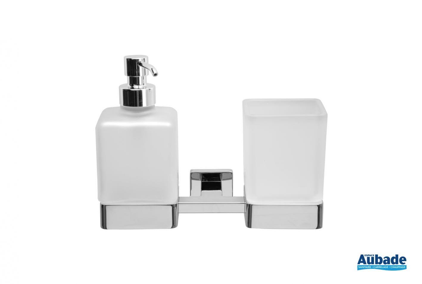 porte verre et distributeur de savon a fixer cubo de inda