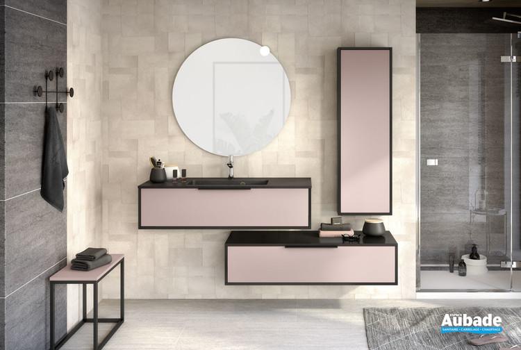 meuble 1 coulissant ultra cadra l 120 cm rose pastel mat et noir mat par delpha