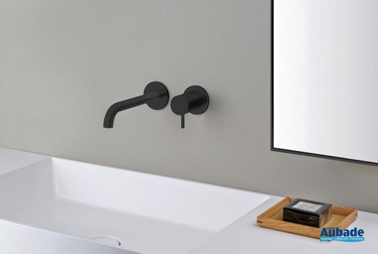 cristina mitigeur lavabo mural blackmat