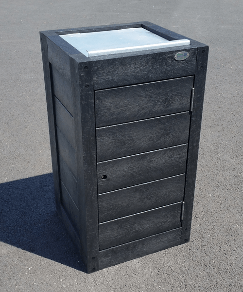 corbeille avec trappe 100% plastique recycle gamme canopee - Corbeille CANOPÉE ESPACE URBAIN