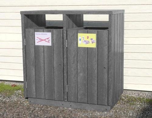 point-tri en plastique 100% recycle pour zone de tri - Point tri 2 bacs ÉQUILIBRE ESPACE URBAIN