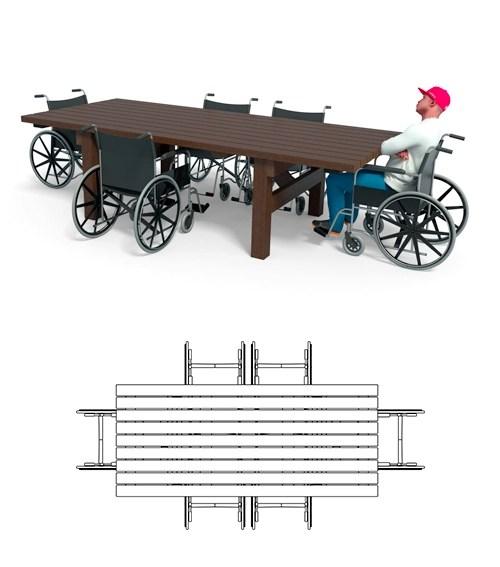 - Table PMR 6 fauteuils Émeraude ESPACE URBAIN