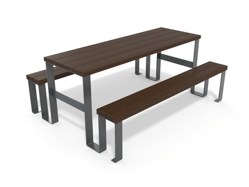 table de pique-nique en plastique recyclé et pieds métal gamme Flexo - Table de pique-nique Flexo ESPACE URBAIN