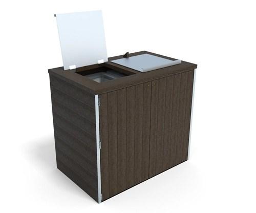 abri pour 2 conteneurs 2 roues en plastique recycle - Abri conteneur 2 bacs ESPACE URBAIN