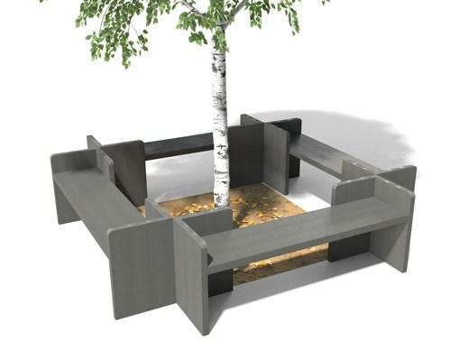 Banquette tour d'arbre Alcove en plastique 100% recyclé - Tour d'arbre ALCOVE ESPACE URBAIN