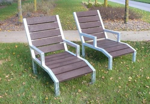 Chaise longue Elegance en plastique recyclé et pieds acier galvanisé - Chaise longue ÉLÉGANCE ESPACE URBAIN