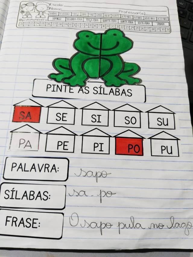Alfabetização palavra sapo: sílabas, palavra e frase