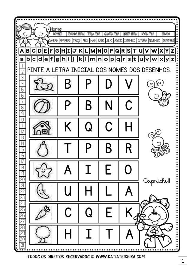Atividade de Alfabetização letra inicial para pré - silábicos e silábicos sem valor sonoro  BNCC (EF01LP07)