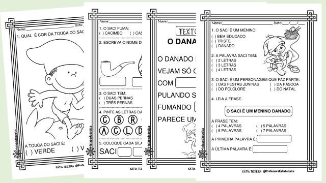 Atividades sobre o Saci para alfabetização em pdf