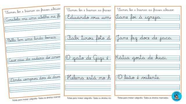 Fichas para treinar caligrafia com frases