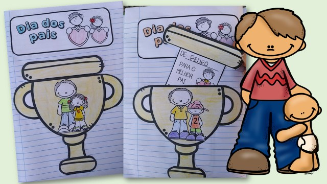 Atividade interativa dia dos pais. Troféu para o papai