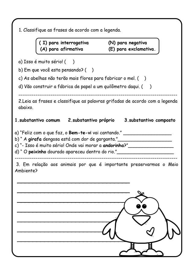 Texto com interpretação 5º ano - Português 5º ano