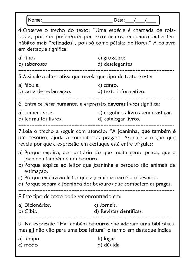 Atividade de leitura e interpretação 4º ano - 1